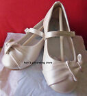 Girls IVORY Flats Dress Shoes Side Bow & Buckle Strap TODDLER Size 5, 6, 7, 8