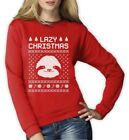 Big White Sloth Face Lazy Ugly Christmas Sweater Funny Women Sweatshirt Gift