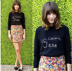 Celebrity IT girl Alexa Chung Vintage Word Embroid Black Knitting Top Sweater