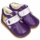 Freycoo Girls Toddler Kids Infant REAL Leather Squeaky Ankle Boots Purple Pink