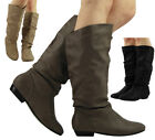 WOMENS PIXIE MID CALF FLAT PULL ON KNEE LONG LADIES LOW HEEL SLOUCH BOOTS SIZE