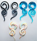 PAIR GLASS SPIRAL EAR STRETCHERS PYREX FLESH PLUG EAR TWIST LOBE TAPER HANGER