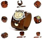 Brown Leather Wrist band Bracelet with/without watch Steampunk GOTHIC Mechanical