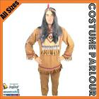 Mens Indian Native American Cowboy Warrior Wild West Fancy Dress Costume