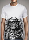 Т-shirt choice drawing. Skull skeleton smothered astronaut space suit gray comics