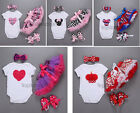Infant Newborn Baby Girl Clothes Headband+Romper Bodysuit+Skirt+Shoes Outfit