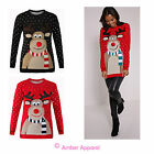 LADIES XMAS CHRISTMAS NOVELTY WOMENS RETRO POM POM RUDOLPH JUMPER SWEATER TOP
