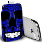 pu leather pull tab pouch case for various Mobiles - blue skull teeth pouch