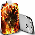 pu leather pull tab pouch case for various Mobiles - fireblaze skull pouch