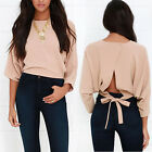 New Women's Overlapping Back Long Sleeve Soft Fabric Branch Vine Crop Top Tee
