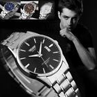 Fashion Sliver Stainless Steel Band Date Analog Quartz Sport Mens Wrist Watch