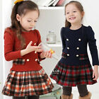 Kids Baby Girls Long Sleeve Plaid Skirt Dress Party Clothes 2T 3T 4T 4 5 6 7 8
