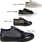 Womens Shiny Flats Lace Up Ladies Low Top Trainers Pumps Sports Gym Shoes Sizes