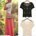 New Womens Hand made Crochet Knit Lace Flower Hollow Out Outer Shirt Top Blouse