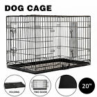 "20"" 24""30""36""42""48"" Folding Dog Cage Crate 2 doors Wire Metal Kennel W/ABS Tray"