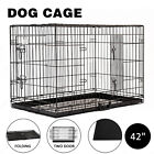 """20"""" 24""""30""""36""""42""""48"""" Folding Dog Cage Crate 2 doors Wire Metal Kennel W /ABS Tray"""
