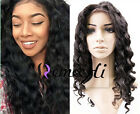loose wavy 100% Brizilian remy human hair full/front lace wig natural hair line