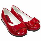 Girls Kids Toddler Infant Faux Leather Ballet Flat Shoes - Patent Red with Bow