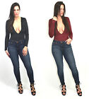 Sexy Plunging low v neck faux suede bodysuit top blouse with button closure