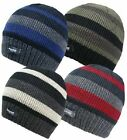 Mens 3M Thinsulate Insulated Stripe Beanie Hats.