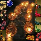 20 WICKER RATTAN BALL LED String Fairy Lights AU PLUG or BATTERY PACK Nightlight