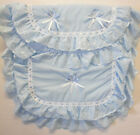 Baby 2 Piece Pram Set Quilt Pillow Padded Frilly Bow Pink Blue Fluffy Fur Trim