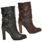 WOMENS LADIES HIGH HEEL STRAP BUCKLE COMBAT CASUAL ANKLE MID CALF BOOTS SIZE