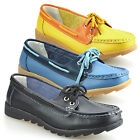 Ladies Womens Leather Flat Casual Slip On Moccasin Loafers Lace Boat Shoes Size
