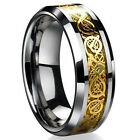 8mm Stainless Steel Ring Men/Women's Wedding Band Silver Gold Size 6-12