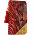 Women Leather Flip Wallet Purse Case Credit Card Holder RED Smartphone Samsung S