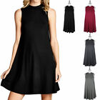 Solid Mock Neck Sleeveless Flowy Tunic Dress Casual Easy Wear Cute S M L