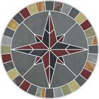 60 Tile Mosaic Medallion Natural Stone Mariners Compass Rose Gray