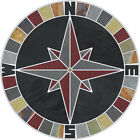 16 Tile Mosaic Medallion Mariners Compass Black Multi Slate Backsplash Flooring