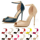 WOMENS LADIES SLIM STILETTO HIGH HEEL PEEP TOE ANKLE STRAP SANDALS SHOES SIZE