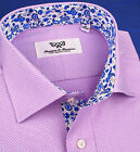 Lilac Mens Formal Business Dress Shirt Blue Floral Button Down Luxury Design Top