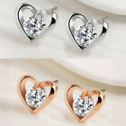 Silver/Gold Plated Crystal Heart Shape Earrings Womens Jewellery Ladies Gifts