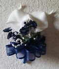 Navy Blue Real Touch Calla Lily Babys Breath Corsage