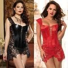 Faux Leather Venice Lace Corset Mini Dress PLUS 3X 4X 5X 6XL