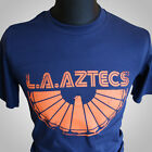 L.A. Aztecs Retro T Shirt L A NASL Soccer George Best Johan Cruyff Football Blue