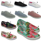 LADIES GIRLS FLAT PLIMSOLES CASUAL LACE UP CANVAS SHOES PUMPS TRAINERS UK SIZES