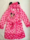 New Disney Minnie Mouse Pink Spotted Dressing Gown Robe Fleece Soft