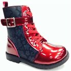 ChatterBox RAE PATENT AND FLOWER Red SIDE ZIP LACE UP ANKLE BOOTS