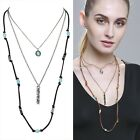 "Women's Fashion Vintage ""BLESSED"" Long 3-Layered Turquoise Sweater Necklace"