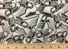 Shoes Tennis Sports Shoe Black White 100% Cotton Fabric BTY or Half Yard w1/4
