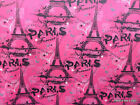 Paris Pink Fabric Hot Pink & Black Eiffel Tower 100% Cotton Quilting Fabric a2/6