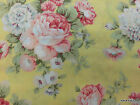 Large Shabby Floral Rose Fabric Pink Yellow Peony Flowers Cotton Yardage t1/6