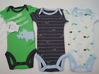 NWT Child Mine,Carters Baby Boy BODYSUIT 3p Set DINOSAUR Green/Blue/Grey Newborn