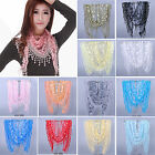 Ne Women Rose Floral Knit Lace Tassel Mantilla Triangle Hollow Scarf Shawl Wrap