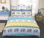 Rapport Jaipur Blue Elephants Ethnic Duvet Set Single Double King