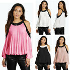 New Womens Ladies Cold Shoulder Contrast Binding Top T-shirt 8-14